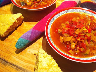 Luscious, Meatless and Fun! Veggie Soup with Cornbread