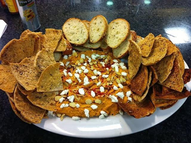 Pumpkin Hummus with Handmade Pita Chips Tonight!