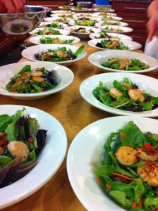 Scallop Salad lined up