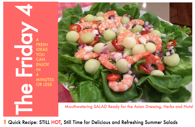 JULY 29TH, 2016 : Summer Shrimp and Melon Salad with Asian Lime Dressing