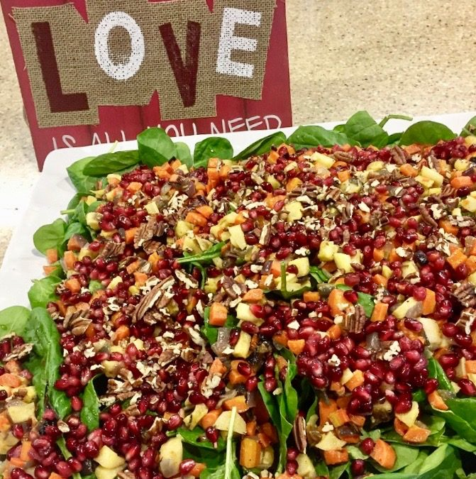 Spicy Tuesday – roasted root veggie and pomegranate salad – mint