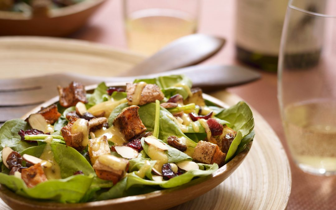 Spicy Tuesday – Spinach Salad with Chutney Curry Dressing and Sweet Potato Croutons – Garam Masala