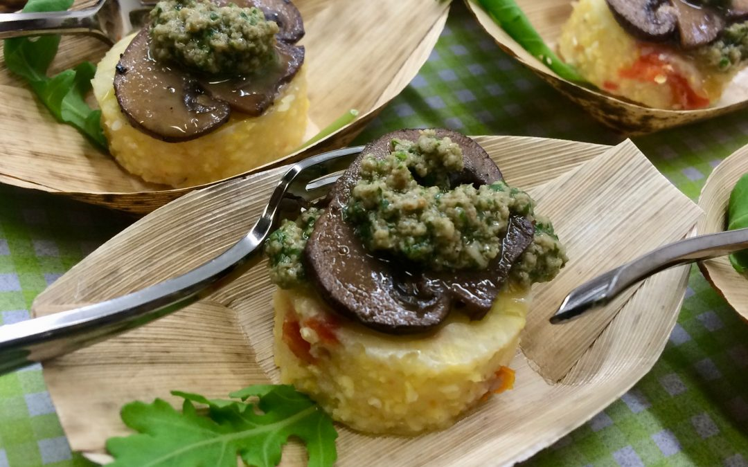 Spicy Tuesday – Polenta Bites with Toppers – Red Pepper Flakes