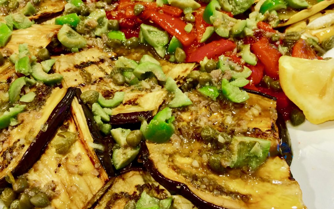 Spicy Tuesday – Grilled Veggies with Mediterranean Almond Caper Olive Sauce – Oregano