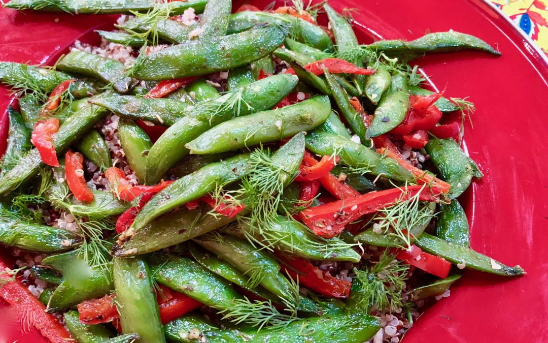 Spicy Tuesday – Sheet Pan Sugar Snaps and Red Peppers – Dill