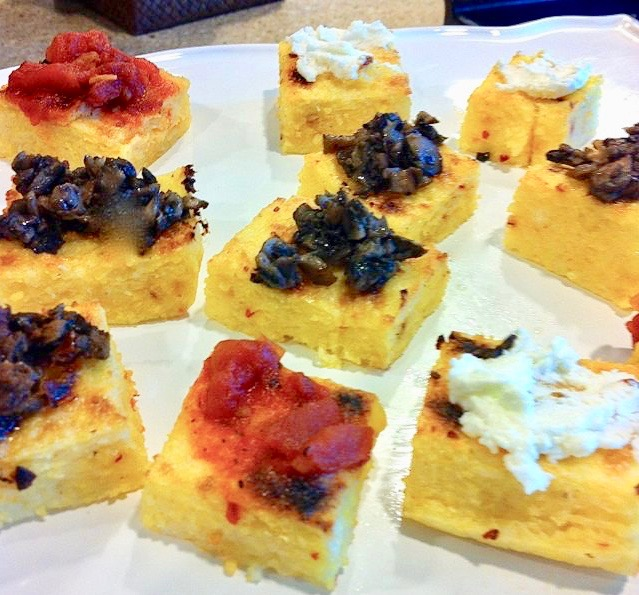 Spicy Tuesday Polenta Squares with Toppers – Red Pepper Flakes