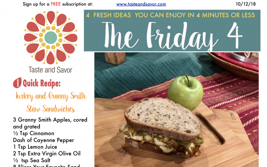 Friday Four 101218: Turkey and Granny Smith Slaw Sandwiches