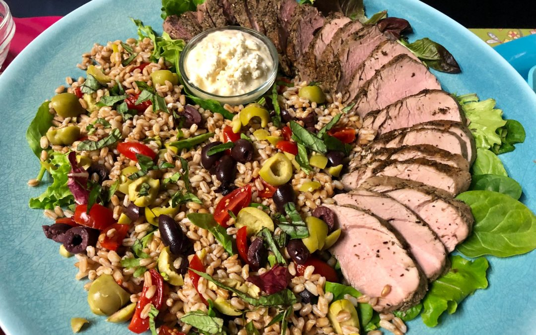 Herb Rubbed Pork Tenderloin with Farro Salad and Feta Dressing
