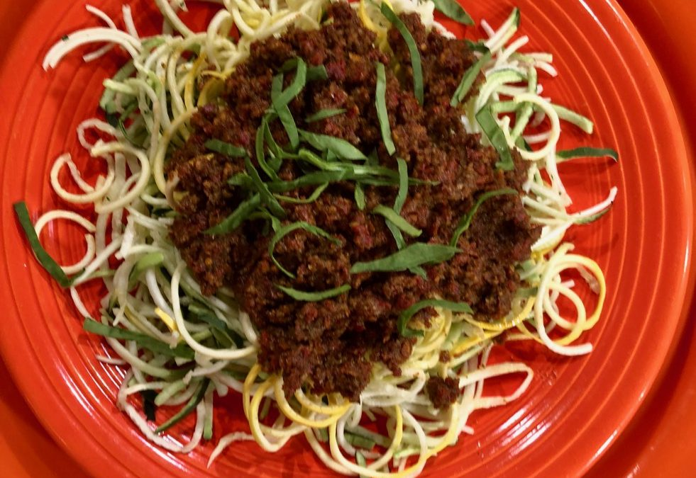 Spicy Tuesday – Sundried Tomato Pesto with Oodles of Zoodles – Basil