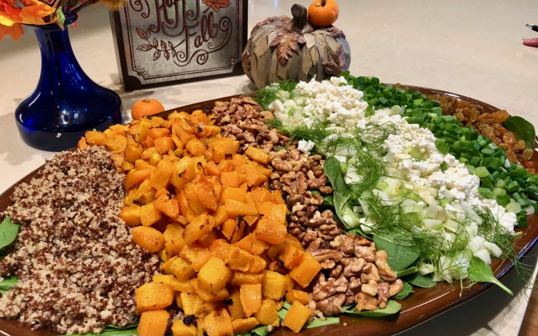 Spicy Tuesday – Roasted Butternut Squash Platter with Pomegranate Honey Drizzle – Mustard