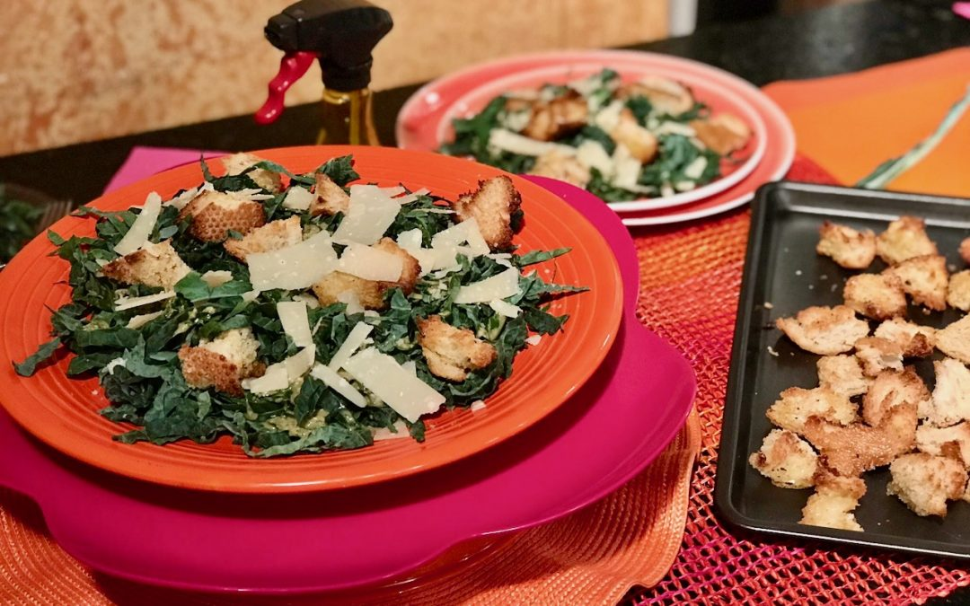 Spicy Tuesday – Kale Caesar Salad with Easy Caesar Dressing – Basil