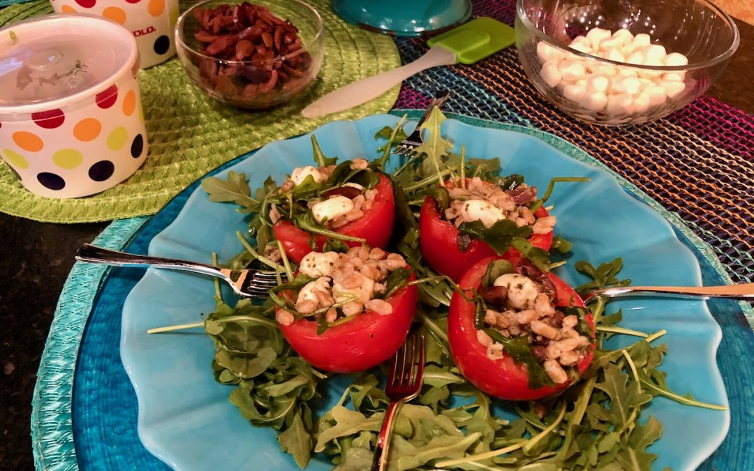 Spicy Tuesday – Farro Pesto Salad in a Tomato – Basil