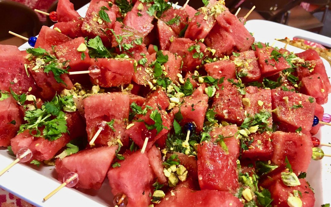 Spicy Tuesday – Melon Skewers with Asian Lime Dressing and Pistachios – Mint