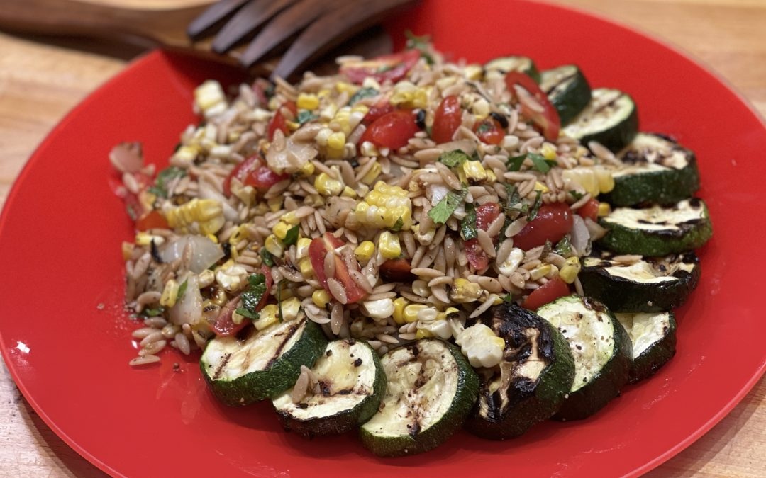 Spicy Tuesday – Grilled Corn, Zucchini and Orzo Salad – Basil
